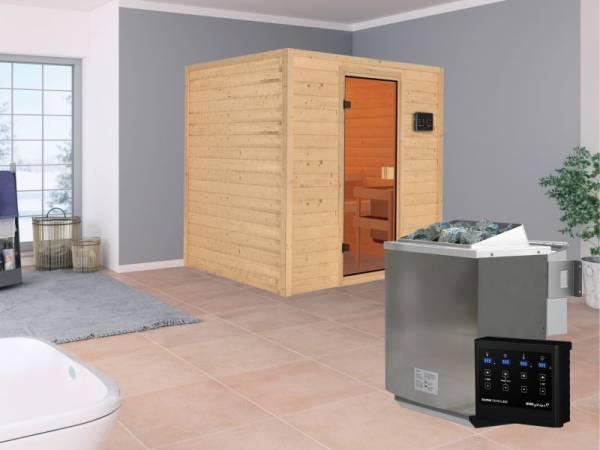 Karibu Aktionssauna Ari mit 4,5 kW BIO-Ofen ext. Strg. ohne Dachkranz