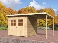 Karibu Gartenhaus Bremen 4 natur mit Anbaudach 1,90 Meter und Fußboden