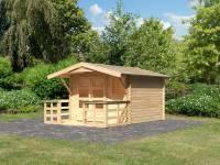 Karibu Woodfeeling Gartenhaus Blockholm 2 inkl. Vordach und Terrasse