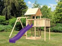 Akubi Spielturm Lotti natur- Anbauplattform- Einzelschaukel- Rutsche violett