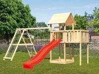 Akubi Spielturm Lotti natur- Anbauplattform- Doppelschaukel inkl. Klettergerüst- Rutsche rot