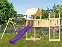 Akubi Spielturm Lotti Satteldach + Schiffsanbau oben + Doppelschaukel + Anbauplattform XL + Netzrampe + Rutsche in violett