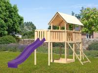 Akubi Spielturm Danny Satteldach + Rutsche violett + Anbauplattform XL + Netzrampe