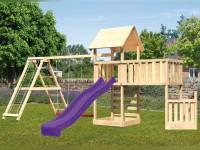 Akubi Spielturm Lotti + Schiffsanbau unten + Anbauplattform XL + Doppelschaukel mit Klettergerüst + Kletterwand + Rutsche violett