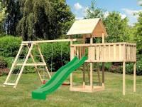 Akubi Spielturm Lotti natur mit Anbauplattform XL, Doppelschaukel inkl. Klettergerüst und Rutsche grün
