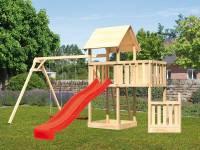 Akubi Spielturm Lotti + Schiffsanbau unten + Anbauplattform + Doppelschaukel + Rutsche rot