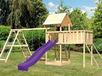 Akubi Spielturm Lotti Satteldach + Rutsche violett + Doppelschaukel Klettergerüst + Anbauplattform XL + Netzrampe
