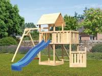 Akubi Spielturm Lotti + Schiffsanbau unten + Anbauplattform + Netzrampe + Einzelschaukel + Rutsche in blau