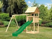 Akubi Spielturm Lotti Set mit Doppelschaukel und Rutsche in grün