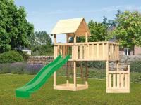 Akubi Spielturm Lotti + Schiffsanbau unten + Anbauplattform XL + Rutsche grün