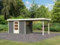 Karibu Woodfeeling Gartenhaus Oburg 4 terragrau mit Anbaudach 2,8 Meter
