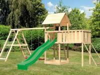 Akubi Spielturm Lotti Satteldach + Rutsche grün + Doppelschaukel Klettergerüst + Anbauplattform XL + Netzrampe
