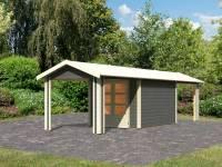 Karibu Woodfeeling Gartenhaus Tastrup 4 in terragrau mit 2 Anbaudächern je 2,40 Meter breite