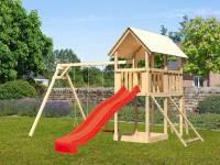 Akubi Spielturm Danny Satteldach + Rutsche rot + Doppelschaukel + Netzrampe