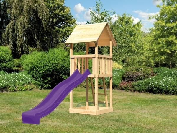 Akubi Spielturm Lotti Set mit Wellenrutsche in violett