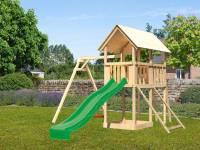 Akubi Spielturm Danny Satteldach + Rutsche grün + Einzelschaukel + Netzrampe