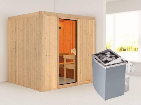 Sodin - Karibu Sauna inkl. 9-kW-Ofen - ohne Dachkranz -
