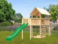 Akubi Spielturm Danny Satteldach + Rutsche grün + Anbauplattform XL + Kletterwand