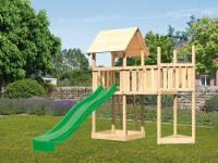 Akubi Spielturm Lotti Satteldach + Rutsche grün + Anbauplattform + Schiffsanbau oben