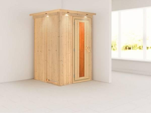 Lenja - Karibu Sauna Plug & Play ohne Ofen - mit Dachkranz - Energiespartür