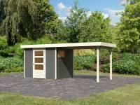 Karibu Woodfeeling Gartenhaus Oburg 3 terragrau mit Anbaudach 2,8 Meter