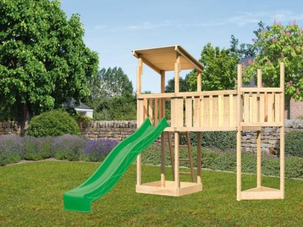 Akubi Spielturm Anna +Rutsche grün + Anbauplattform XL + Schiffsanbau oben