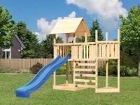 Akubi Spielturm Lotti Satteldach + Schiffsanbau oben + Anbauplattform + Kletterwand + Rutsche in blau