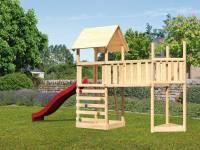 Akubi Spielturm Lotti Satteldach + Schiffsanbau oben + Anbauplattform XL + Kletterwand + Rutsche in rot