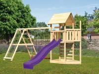 Akubi Spielturm Lotti Satteldach + Schiffsanbau oben + Doppelschaukel mit Klettergerüst + Kletterwand + Rutsche in violett