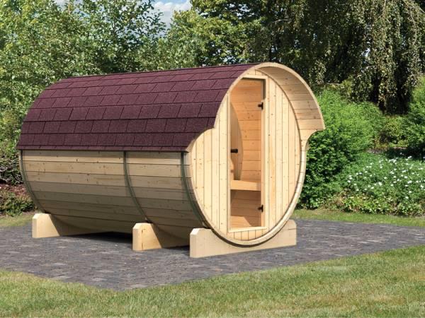 Karibu Fass - Sauna 3 42 mm ohne Ofen - Sparset - inkl. Dachschindeln