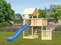 Akubi Spielturm Lotti + Schiffsanbau unten + Anbauplattform + Kletterwand + Rutsche in blau