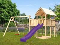 Akubi Spielturm Danny mit Doppelschaukel und Rutsche in violett