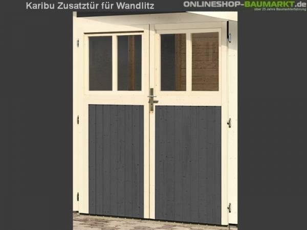 Karibu Doppeltür für Gartenhaus Wandlitz terragrau