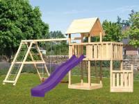 Akubi Spielturm Lotti + Schiffsanbau unten + Anbauplattform + Doppelschaukel mit Klettergerüst + Rutsche violett