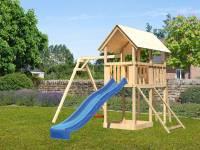 Akubi Spielturm Danny Satteldach + Rutsche blau + Einzelschaukel + Netzrampe