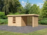 Karibu Woodfeeling Gartenhaus Oburg 4 natur mit Anbaudach 2,4 Meter inkl. Lamellenwände