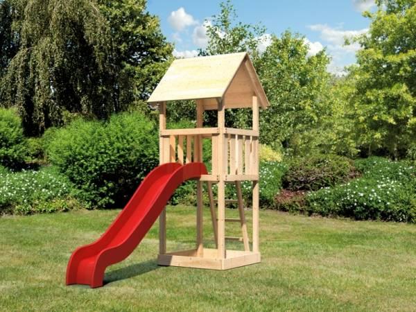 Akubi Spielturm Lotti Set mit Wellenrutsche in rot