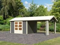 Karibu Woodfeeling Gartenhaus Tastrup 7 in terragrau mit einem Dachanbau 3,00 Meter