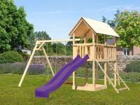 Akubi Spielturm Danny Satteldach + Rutsche violett + Doppelschaukel + Netzrampe