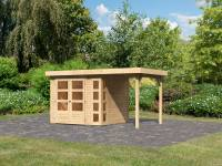 Karibu Woodfeeling Gartenhaus Kerko 3 natur mit 1,5 m Anbaudach