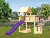 Akubi Spielturm Lotti + Schiffsanbau unten + Anbauplattform + Kletterwand + Rutsche in violett