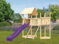 Akubi Spielturm Lotti Satteldach + Schiffsanbau oben + Anbauplattform + Netzrampe + Rutsche in violett