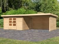 Karibu Woodfeeling Gartenhaus Bastrup 7 mit Anbaudach 4 Meter inkl. Rück- und Seitenwand