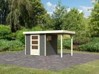 Karibu Woodfeeling Gartenhaus Oburg 2 terragrau mit Anbaudach 1,5 Meter