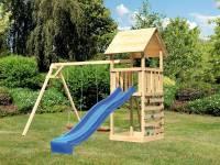 Akubi Spielturm Lotti mit Doppelschaukel, Kletterwand und Rutsche blau