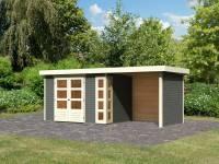 Karibu Woodfeeling Gartenhaus Kerko 4 in terragrau mit Anbaudach 2,40 m und Rück-und Seitenwand