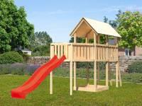 Akubi Spielturm Danny Satteldach + Rutsche rot + Anbauplattform XL