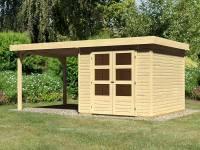 Karibu Woodfeeling Gartenhaus Askola 3,5 mit Anbaudach 2,75 Meter