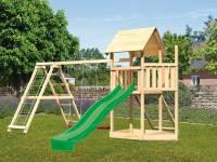 Akubi Spielturm Lotti Satteldach + Schiffsanbau oben + Doppelschaukel mit Klettergerüst + Netzrampe + Rutsche in grün