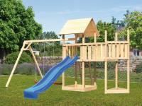 Akubi Spielturm Lotti Satteldach + Schiffsanbau oben + Anbauplattform + Doppelschaukel + Rutsche in blau